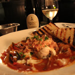 My seafood cioppino at Chandler's, with the Gewurtztraminer I ordered with my food.