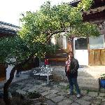 In front of the kitchen. Small courtyard in the middle. Rooms are surrounding the courtyard, som