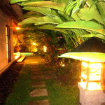 The walkway to our Villa at night