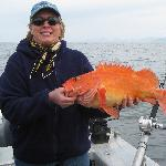 Lucky wife with red (rock) fish!