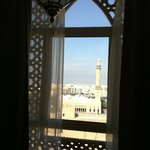 view from our room onto a mosque and Dubai museum.