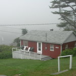Cottage at Harborside on a foggy morning
