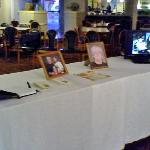 Our table for siging the book, memory cards, pictures and slide show