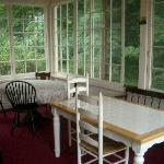The enclosed porch where we enjoyed our breakfast.