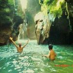 Swimming at nearby waterfall