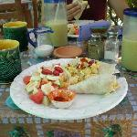  breakast tacos, fresh fruit, mango smoothies and coffee at Debo&#39;s - yum