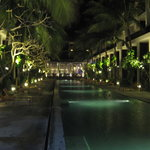 The pool, at night