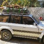 Nancy all loaded up for camping