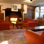 Roaring fire in the sitting room