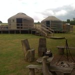 The yurts - taken from the open fire pit