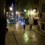 The view from the balcony of my room, this is the hostel's street on any night