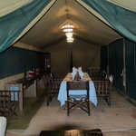 The Lemala Camp dining tent. Wonderful  food.