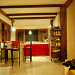  The living room and kitchen at night.