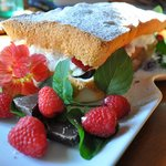 Berry stuffed angle food cake for evening Sweet Treat