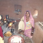 Chhotu's mother making chapatis
