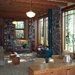 The Living Room, Library and Woodstove with Views to the Garden