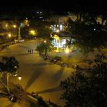 Night photo of the plaza taken from hotel room in Hotel Santa Clara Libre