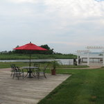 View from our ground-floor room: marsh, patio, and pier