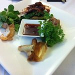 wild duck spring rolls, roo, quail and Barra entre