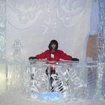 Posing at one of the ice bars