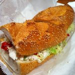 seafood salad sandwich. bread is toasted. Really yummy!