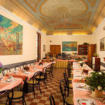 our breakfast room with original fresco ceiling