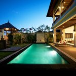 One of our villas at night