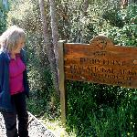  Reading the Bushy Point signboard at the entrance to the Reserve