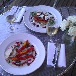 Dinner on our balcony - the entree