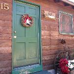 Our door with a beautiful wreath.