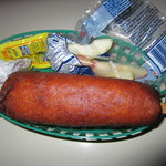 Corn dog with apple slices