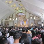  Sunday mass in the church, packed solid.