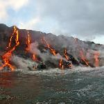 Lava flowing into the sea...