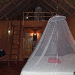 The inside of our bungalow, which included a loft, at El Sol Azul Guesthouse, in Las Galeras, Do