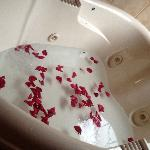 we gathered petals between us so they would not get sucked into the Jacuzzi plumbing
