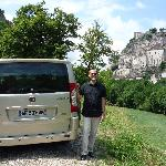 Arnaud and his very nice, safe van at Rocamadour.