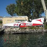 the 1960 Miss Burien being lowered into the water