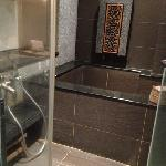 bathtub is supplied with hot spring water and cold tap water with a shower beside it.