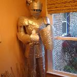 A suit of armor in the lobby / sitting area