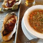 Oysters, lentil soup and Lagunitas IPA from Pricillas's  down the street!