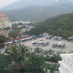 sightseeing stop parking lot-many tour buses during the day making the beach very crowded