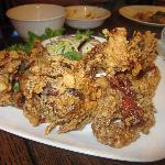 Fried soft shell crabs w/ shredded green mango sauce