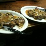  rib eye over mushrooms and Marsala side of Penne Alpana