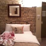  lovely exposed brick walls..ignore wrapping paper mess:-)