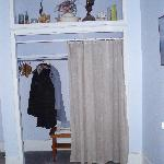 Our closet - note the dusty and strange decorations.