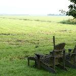 View on countryside with relaxing bearchairs