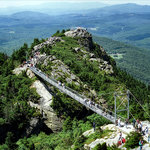The Mile High Swinging Bridge hangs 5,280 ft (1 mi.) above sea level and 80 ft. above the ground