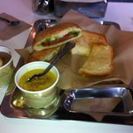 Tasty soup and sandwiches