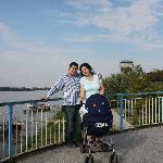  My family on the top of the round bridge, Riga hotel can be seen behind us