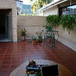 Nice patio with attached kitchen to make food / tea and relax
